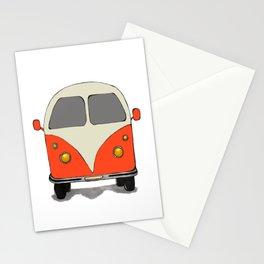 Orange Vintage Retro Hippy Car Camper Van Hippy Minivan Stationery Cards
