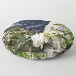 White Flowers and Mountain Pass (Milford Sound) Floor Pillow