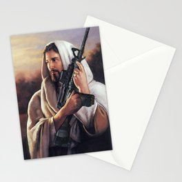 Assault Rifle Jesus Christ Messiah - Who WOuld Jesus Shoot Stationery Cards