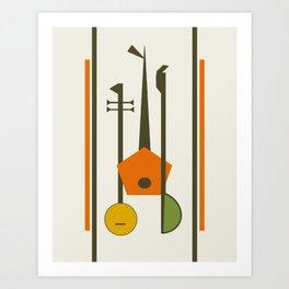 Mid-Century Modern Art Musical Strings Art Print