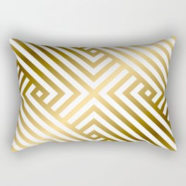 Art Deco Gold and Alabaster White Geometric Pattern Rectangular Pillow