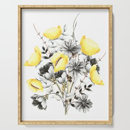 Poppies And Chicory Wildflower Bouquet Serving Tray