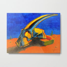 Blue and Orange Antelope Skull Metal Print