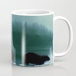 Stepping Into The Moonlight - Black Bear and Moonlit Lake Coffee Mug