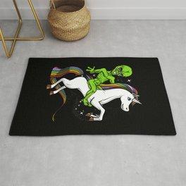 Space Alien Riding Unicorn Cosmic UFO Rug