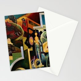 Classical Masterpiece - Instruments of Power - Train, Airplane, Steam by Thomas Hart Benton Stationery Cards