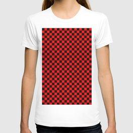 checkered black red T-shirt