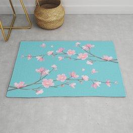 Cherry Blossom - Robin Egg Blue Rug