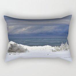 Winter Beach Shrubs Rectangular Pillow