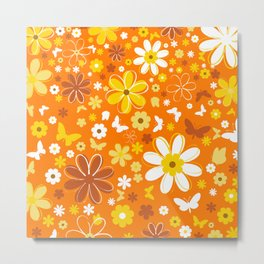 Flowers And Butterflies On Orange Background Metal Print