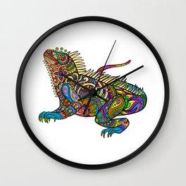 Colorful Iguana | Artsy Pattern Lizard Wall Clock