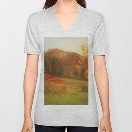 The Autumn Colors and Flowers of the Mountains by Albert Bierstadt Unisex V-Neck