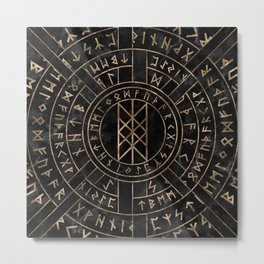 Web of Wyrd The Matrix of Fate- Marble and gold Metal Print
