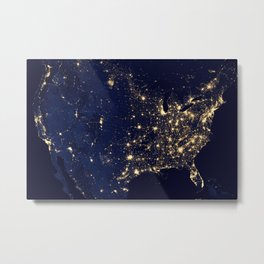 1461. City Lights of the United States 2012 Metal Print