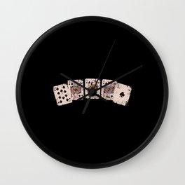 Royal Flush Poker Design Wall Clock