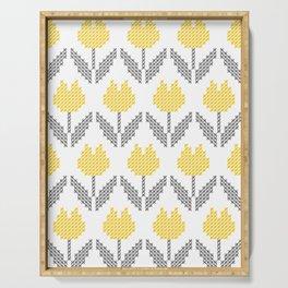 Tulips cross-stitched farmhouse folk art embroidery Illuminating Yellow, Gray Serving Tray