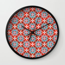 Retro Kitchen Check Cloth , Vintage Red & Blue Chequerboard Daisy flower Pattern Wall Clock