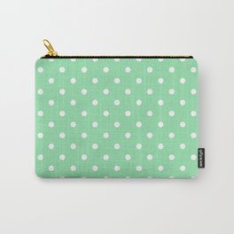 Mint Green with White Polka Dots Carry-All Pouch