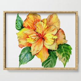 Yellow Summer Hibiscus Blossom Serving Tray