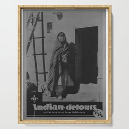 retro classic indian detours poster Serving Tray