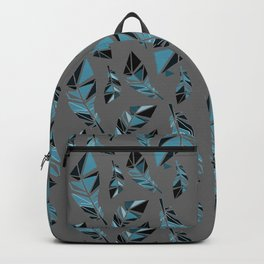 Blue Feathers Greyed Backpack