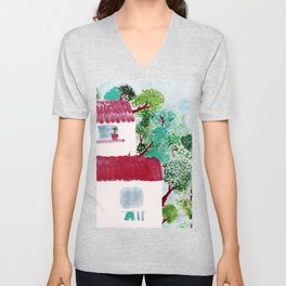 Village houses in the woods watercolor Unisex V-Neck