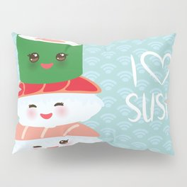 I love sushi. Kawaii funny sushi set with pink cheeks and big eyes, emoji. Blue japanese pattern Pillow Sham