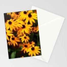Seat in the park with yellow flowers Stationery Cards
