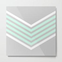 Mint & White Arrows Over Grey Metal Print