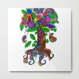 Psychedelic Paisley Tree - on White Background Metal Print