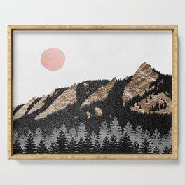 Flatirons Boulder Colorado - Climbing Gold Mountains Serving Tray