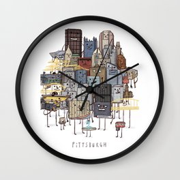 Pittsburgh Skyline group picture- art print Wall Clock