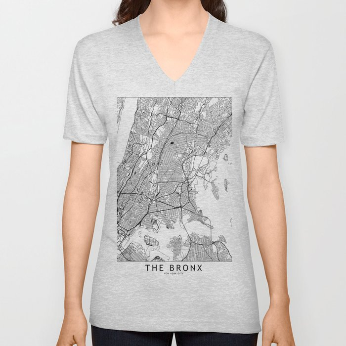 The Bronx White Map Unisex V-Neck