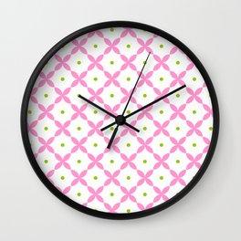 rosace 10- pink and green Wall Clock