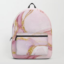 Blush Pink And Gold Alcohol Ink Marble Backpack