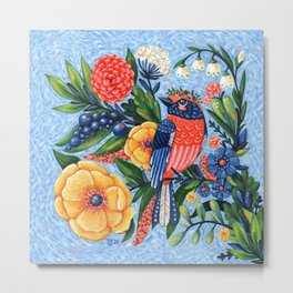 Coral Songbird and Flowers Acrylic Painting Metal Print