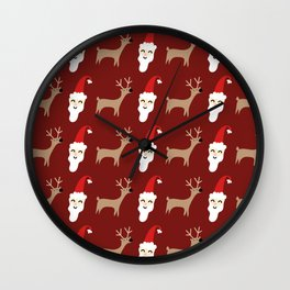 Reindeer Santa Pattern Wall Clock