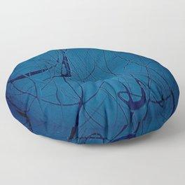 Navy Blue - Jackson Pollock Style Art - Abstract - Expressionism - Corbin Henry Floor Pillow