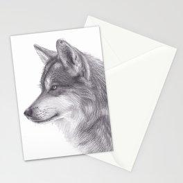 Pencil Drawing of Siberian Husky Dog - Wildlife Animal Graphite Art Artwork by Moiimran Stationery Cards