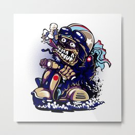 Smoke Skull Driver Moped - Navy Metal Print