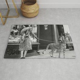 Woman with Cheetah, Phyllis Gordon, with her pet Kenyan cheetah, Paris, France black and white photo Rug