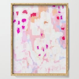 Netta - abstract painting pink pastel bright happy modern home office dorm college decor Serving Tray