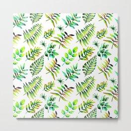 Watercolor Leaves pattern Metal Print