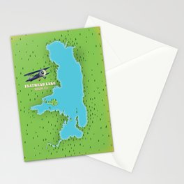 Flathead Lake Montana USA map Stationery Cards