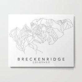 BRECKENRIDGE // Colorado Trail Map Black and White Lines Minimalist Ski & Snowboard Illustration Metal Print