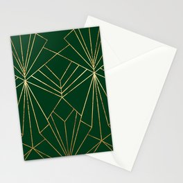 Art Deco in Gold & Green - Large Scale Stationery Cards