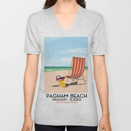 Pagham Beach West Sussex travel poster, Unisex V-Neck