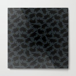 Cats Dark Pattern Metal Print