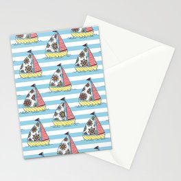 Sunny sailboats Stationery Cards