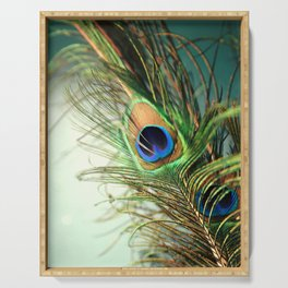 peacock feather-teal Serving Tray